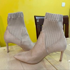 Zara Basic Sock Boots Suede Booties Size US 7.5